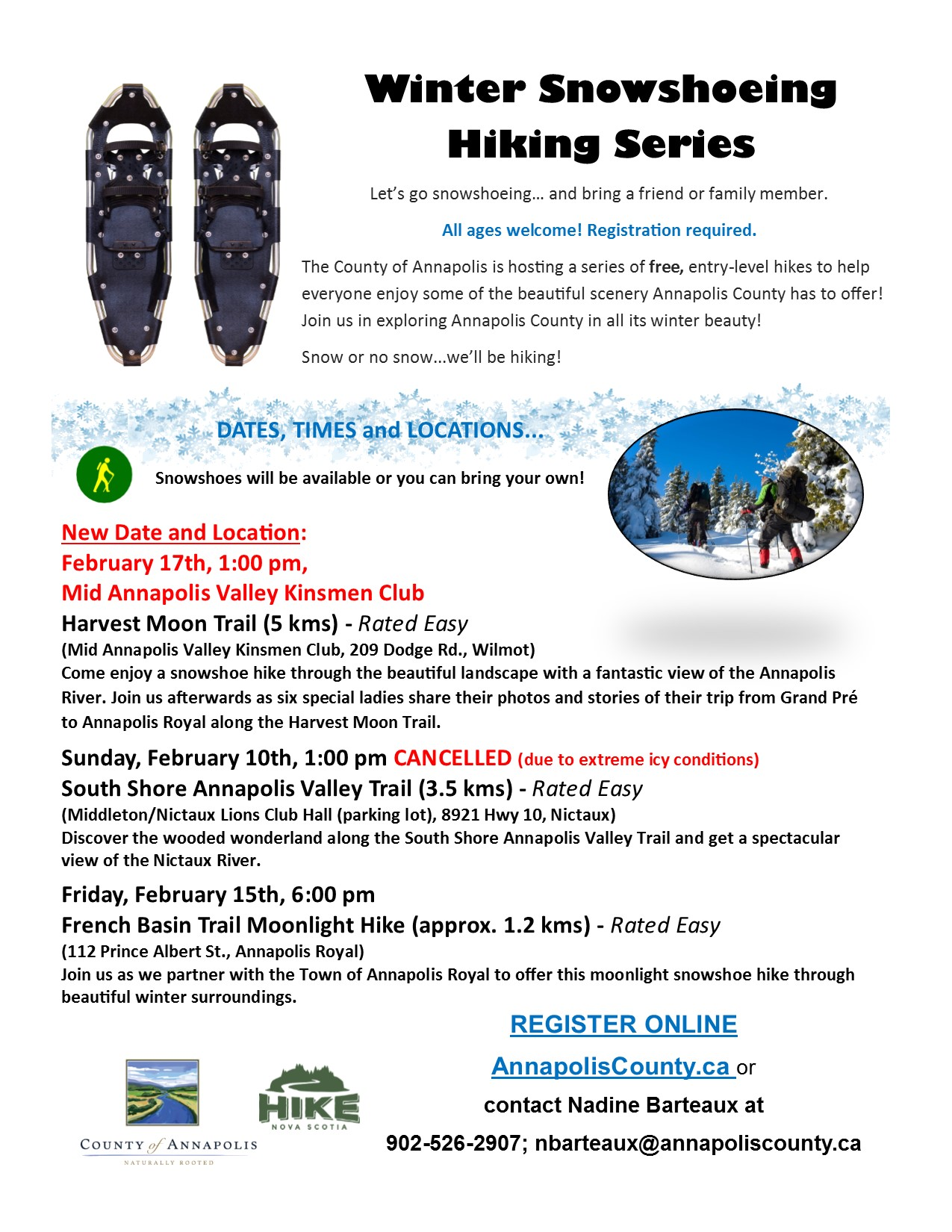 2019 Winter Snowshoeing Hiking Series poster revised Feb 9 19