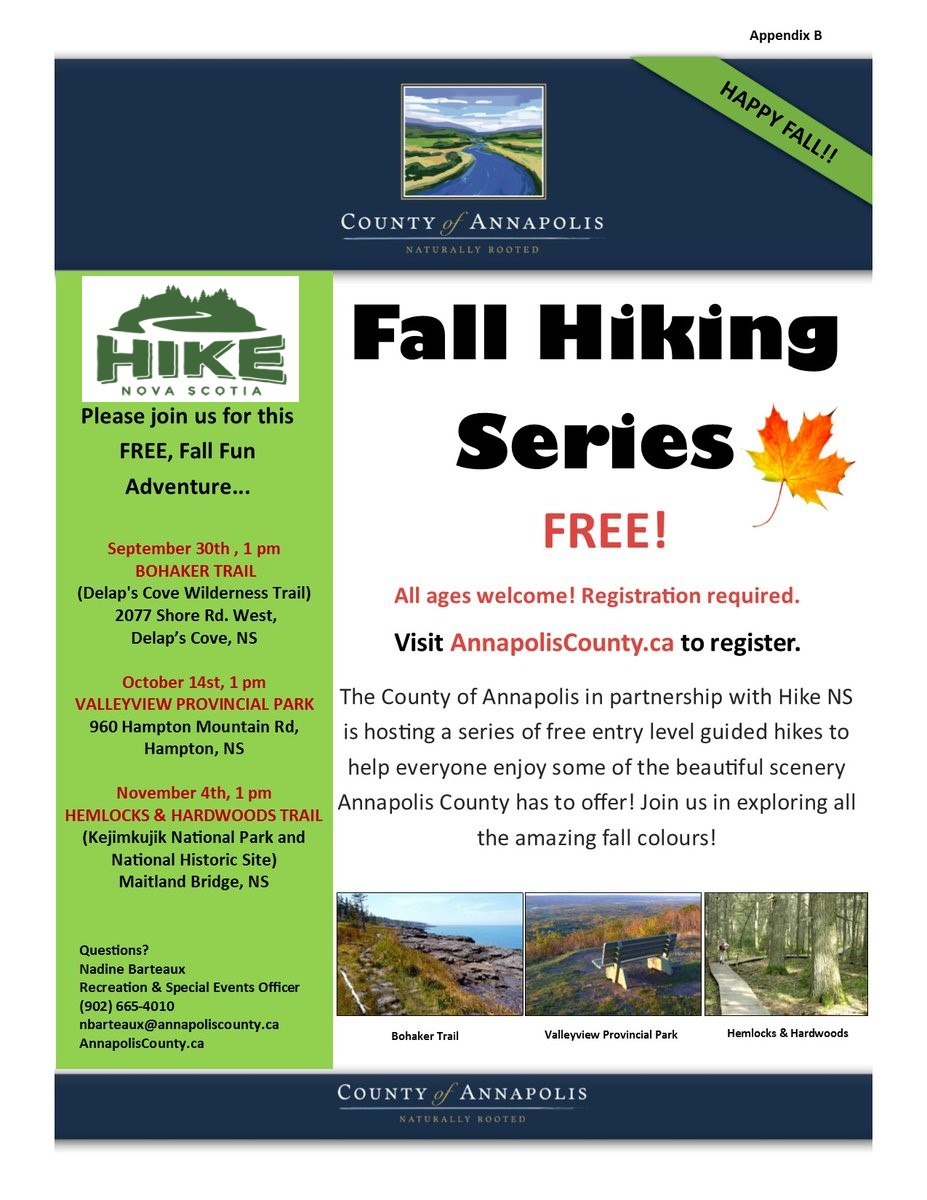 2018 Fall Hiking Series poster with new Hike NS logo