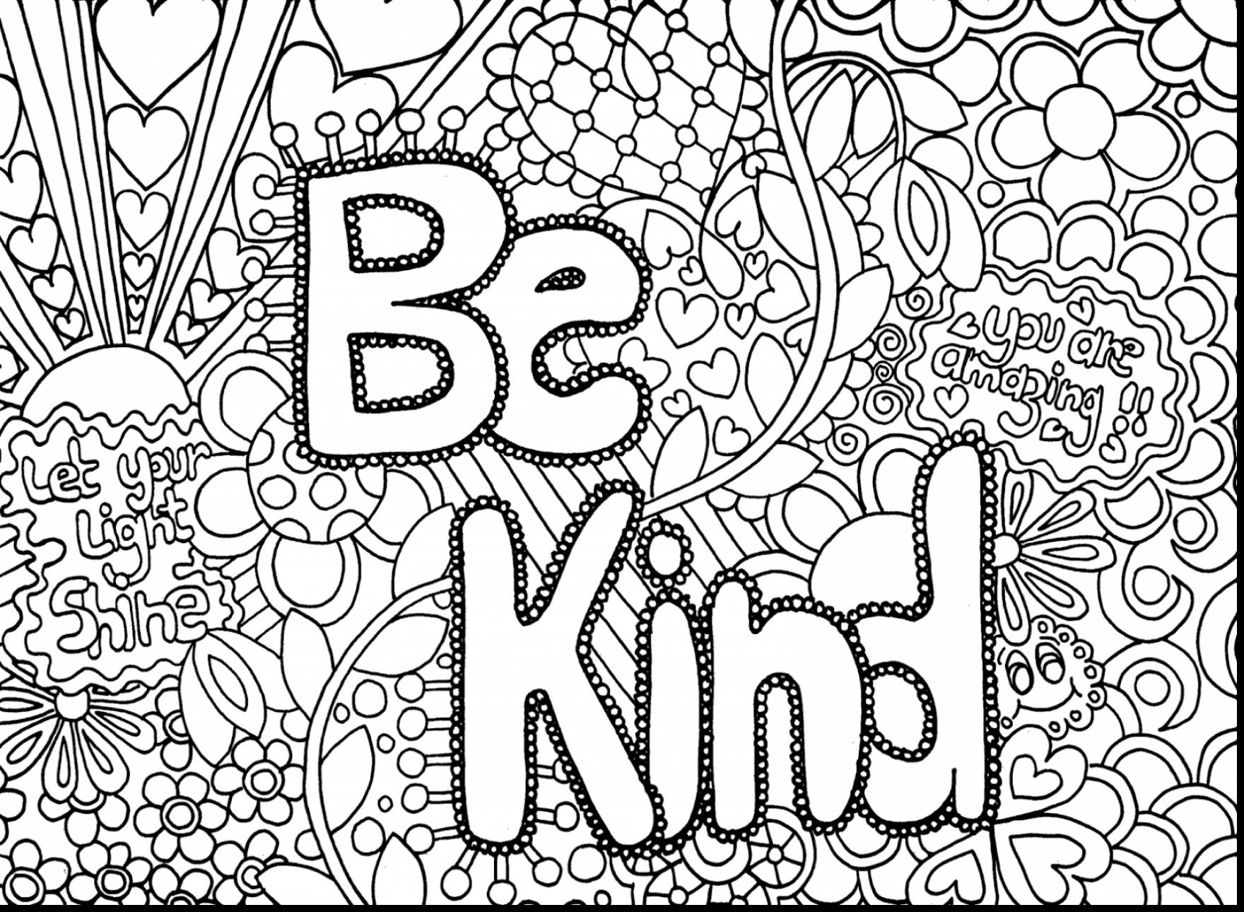 Adult Be Kind Colouring Page