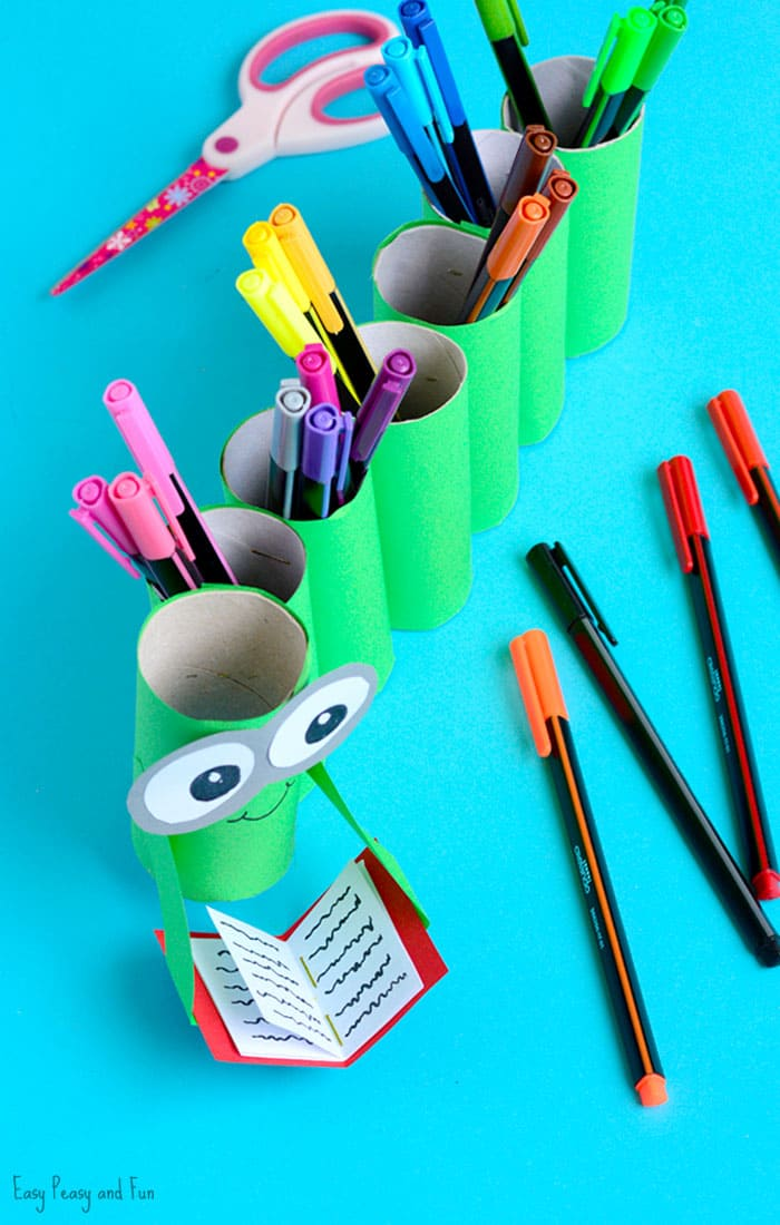 DIY Bookworm Paper Roll Pencil Holder Craft for Kids