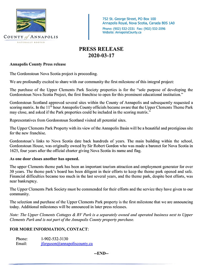 2020 03 17AnnapolisCounty GordonstounPressRelease
