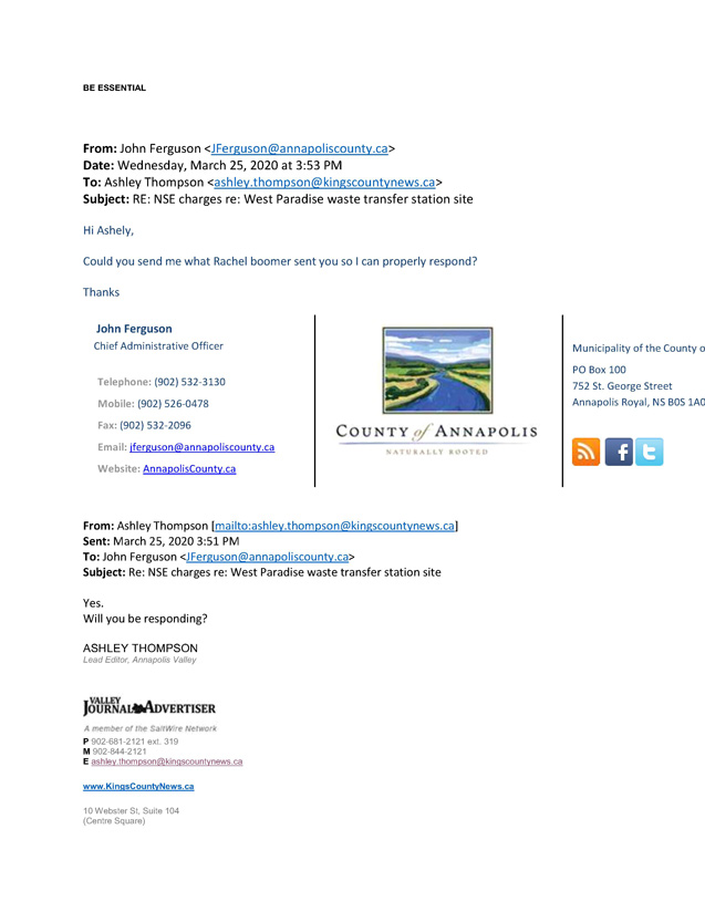 Email stream Between the Valley Register, the Department of Environment, and Annapolis County 5